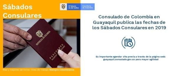 Consulado de Colombia en Guayaquil publica las fechas de los Sábados Consulares en 2019