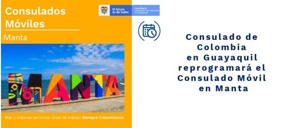 Consulado de Colombia en Guayaquil reprogramará el Consulado Móvil