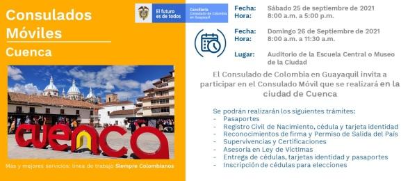 El Consulado de Colombia en Guayaquil realizará la jornada de Consulado Móvil en Cuenca