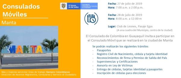 Consulado de Colombia en Guayaquil realizará un Consulado Móvil en Manta, los días 27 y 28 de julio de 2019