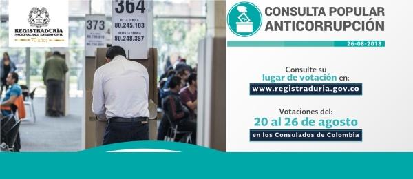 El Consulado de Colombia en Guayaquil publica los puestos votación y jurados designados para la Consulta Popular Anticorrupción que se realizará del 20 al 26 de agosto