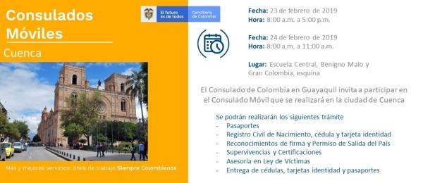 Consulado de Colombia en Guayaquil realizará un Consulado Móvil en Cuenca, los días 23 y 24 de febrero de 2019