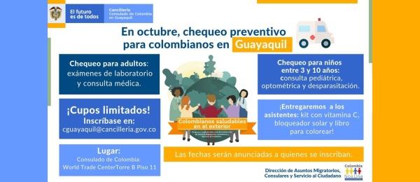 El Consulado de Colombia en Guayaquil invita a los colombianos a inscribirse y agendar sin costo un chequeo médico preventivo, en octubre 2019