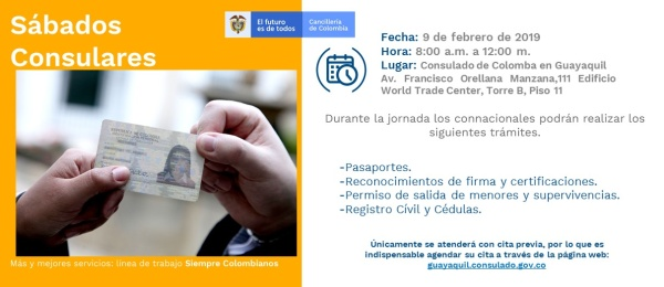 Jornada de Sábado Consular en Guayaquil el 9 de febrero de 2019