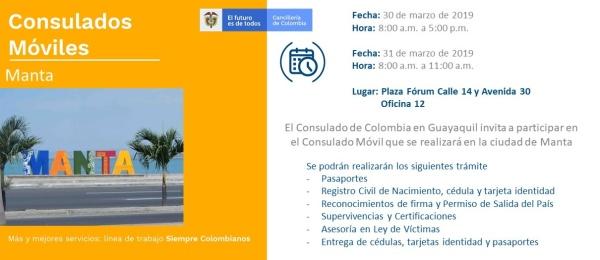 Consulado de Colombia en Guayaquil realizará Consulado Móvil en la ciudad de Manta, los días  30 y 31 de marzo de 2019