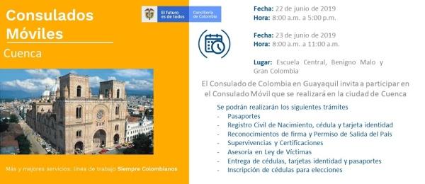 El Consulado de Colombia en Guayaquil invita al Consulado Móvil en Cuenca el 22 y 23 junio  de 2019