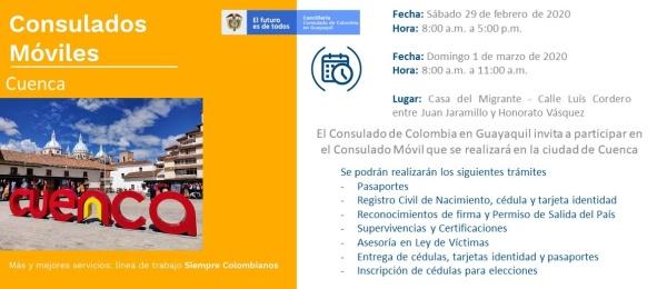 Consulado de Colombia en Guayaquil realizará Consulado Móvil en Cuenca, los días 29 de febrero y 1 de marzo de 2020
