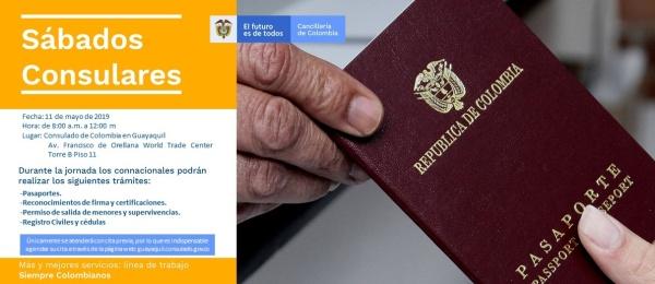 El Consulado de Colombia en Guayaquil realizará una jornada de Sábado Consular este 11 de mayo de 2019